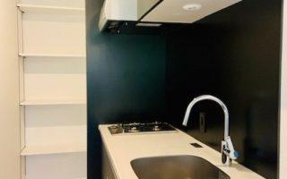 2口ガスコンロシステムキッチン。キッチン奥には可動式棚付き収納スペースあり(キッチン)
